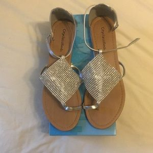 Silver/Jeweled Flat Sandals